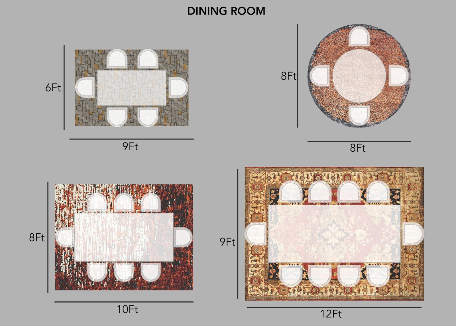 Choosing the Right Rug Size for Dining Room (Part - III)