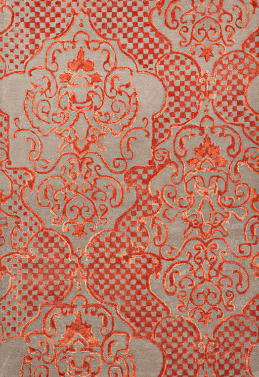 handmade designer carpets collection Orange Beige Carpets & Rugs