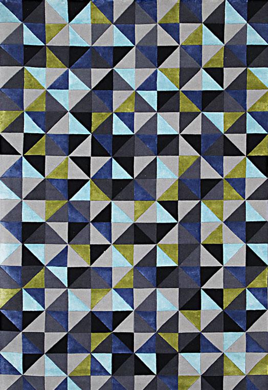 Blue geometric pattern living room carpets Bengaluru Blue Green Carpets & Rugs