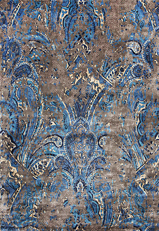 Brown blue contemporary carpets for home Kolkota Brown Blue Carpets & Rugs