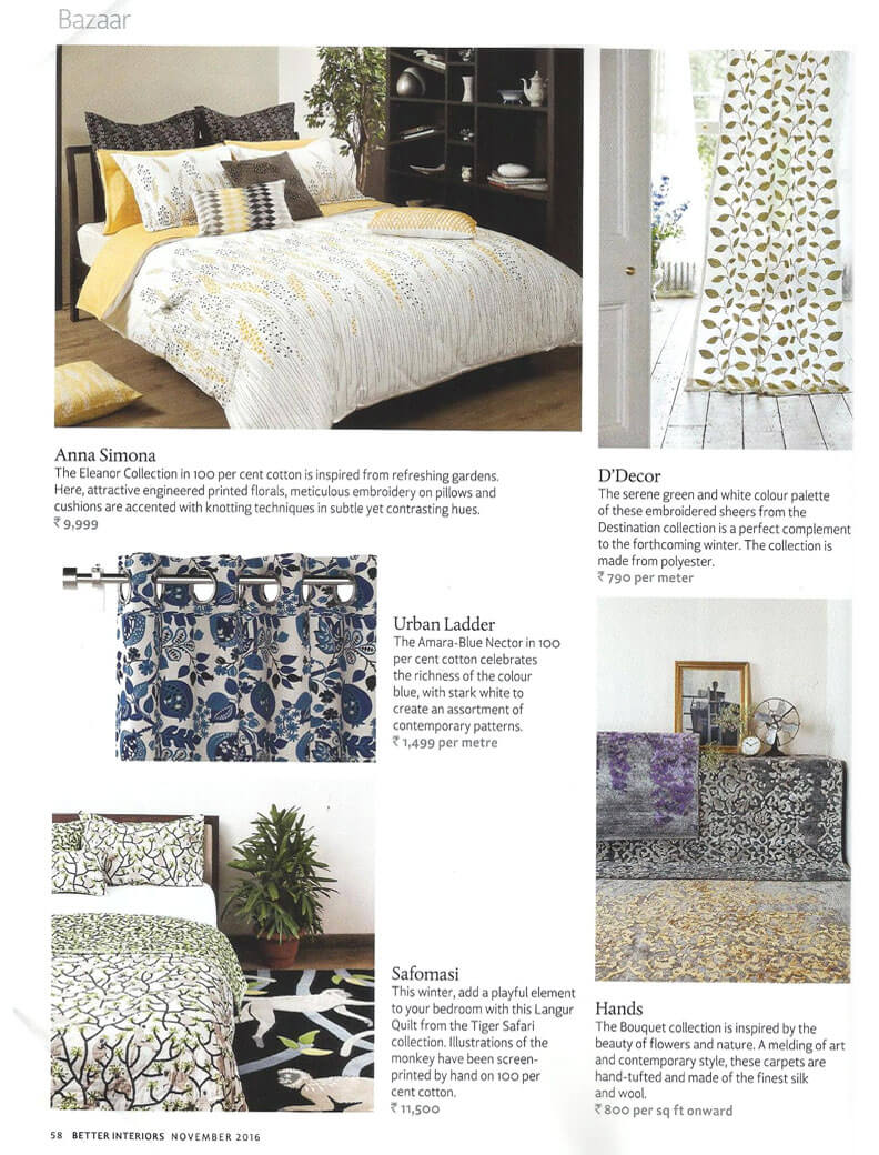 The Hands Bouquet Collection featured in the Better Interiors November issue.